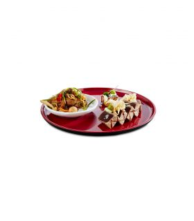 Plate Ø 24 cm black and red inside melamine Asia + range