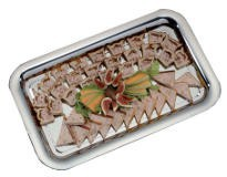 Chrome-plated metal trays and platters