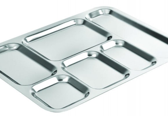 Dining tray with stainless steel compartments